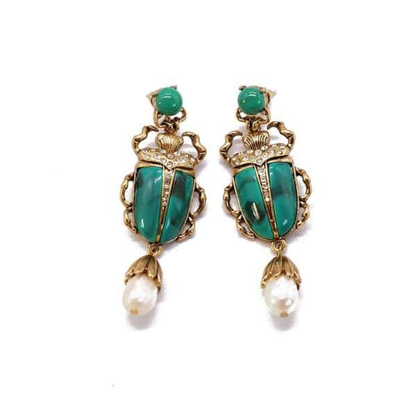 71497 Jade Look Scarab FWP Earrings